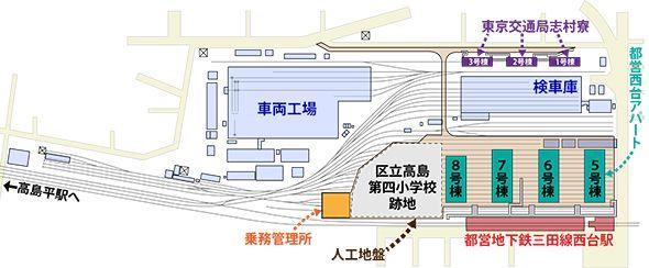 志村検修場の構内マップ(イラストは編集部作成)