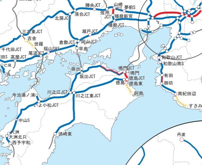 NEXCO西日本の道路網図。本州と四国を結ぶ高速道路は、JB本四高速の管轄のためグレーの線になっている(NEXCO西日本の公式サイトより)