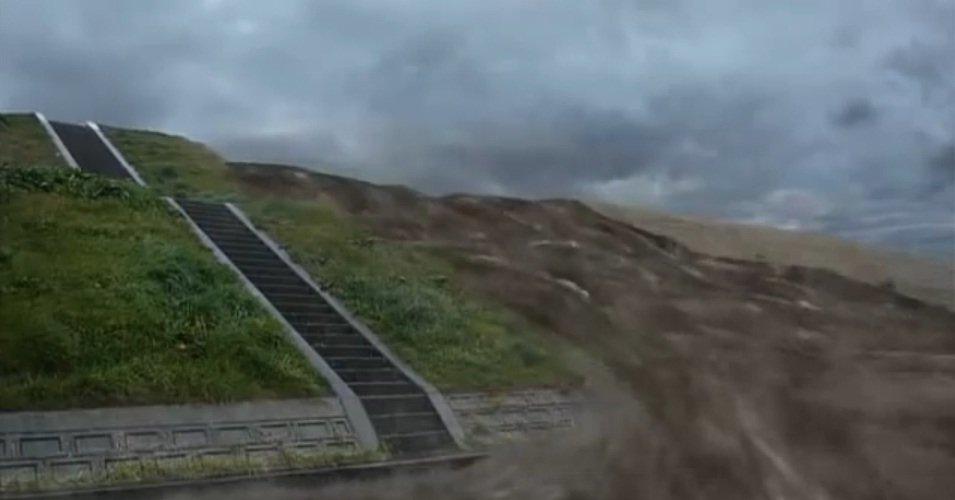 堤防を超えて東京の下町に流入する大量の水のCG(フィクションドキュメンタリー「荒川氾濫」より)