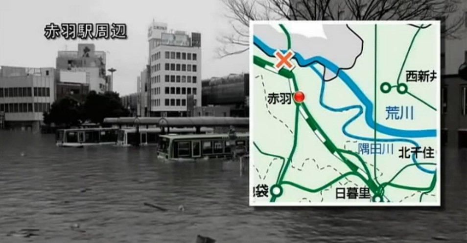 赤羽駅周辺のCG(フィクションドキュメンタリー「荒川氾濫」より)