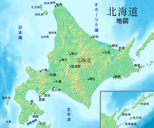 北海道地図(Wikimedia Commonsより)