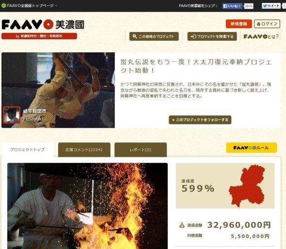 クラウドファンディングサイト「FAAVO」より