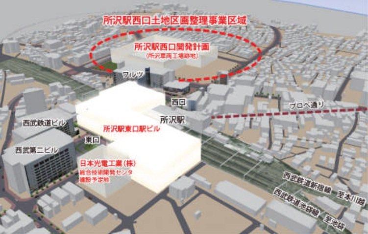 所沢駅東口・西口開発計画(西武グループ公式サイトより)