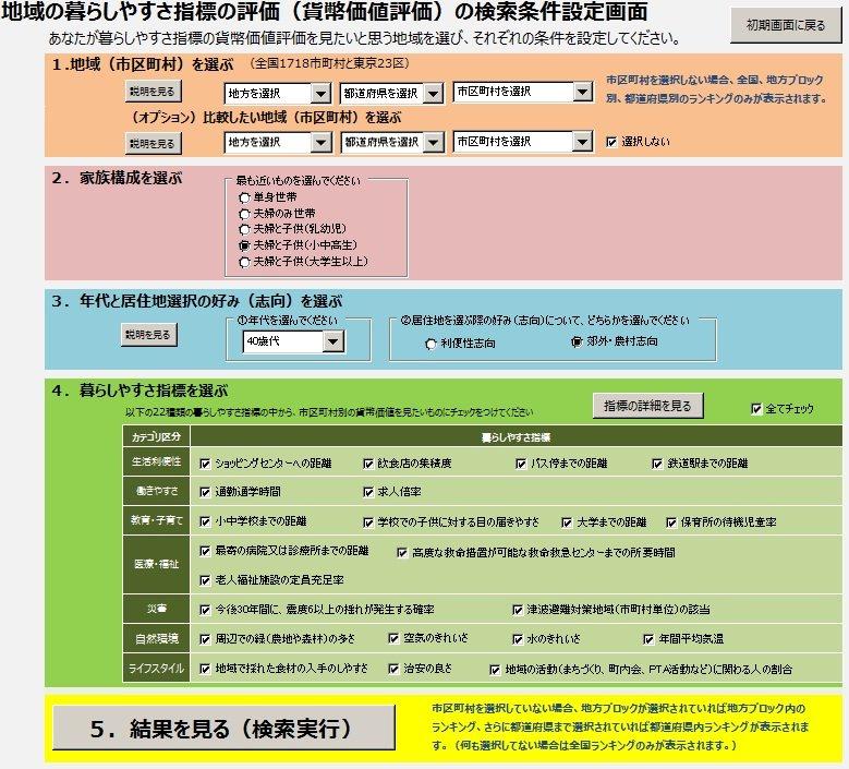 「地域の生活コスト『見える化』システム」の条件設定画面