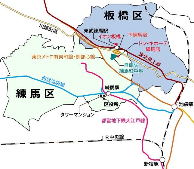 練馬と東武練馬の位置関係