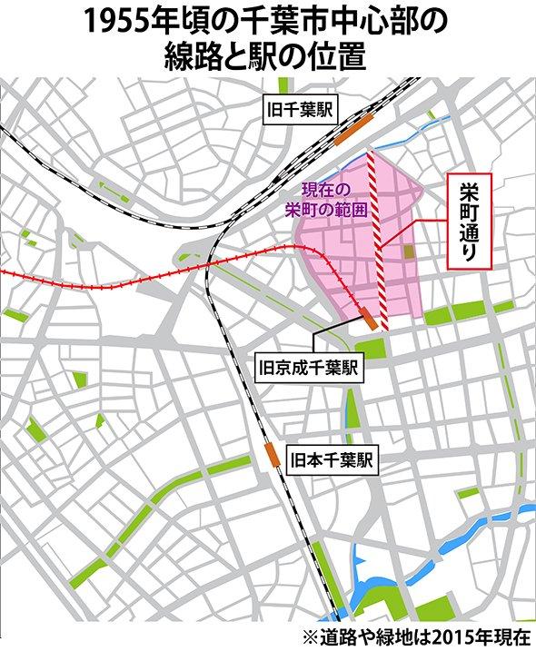 旧千葉駅と旧京成千葉駅の位置(地図は編集部作成)