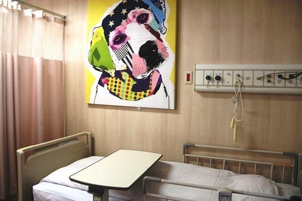 病室には気鋭アーティストの作品が飾られている