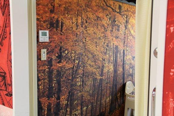 こちらは「紅葉」の壁紙が貼られた病室