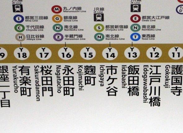 電車内の路線図。こちらも旧字体だ