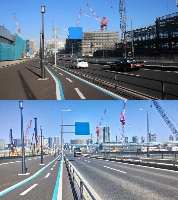 上が12月、下が3月に撮影した写真。建設の進みぶりが見て取れる