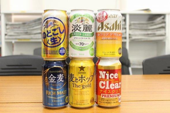 代表的な銘柄を中心に6種類の発泡酒&第三のビールを集めてみた