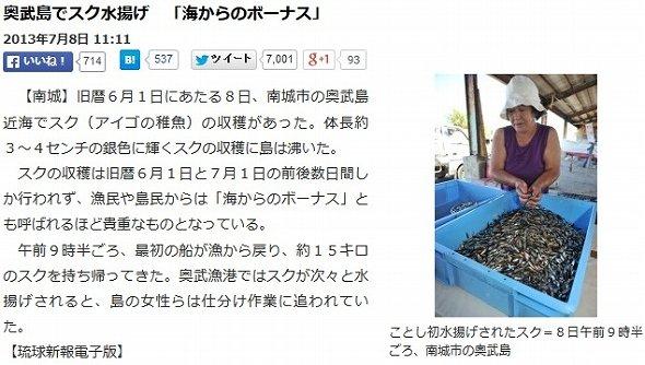 「スク水揚げ」が登場した初めての記事(画像は琉球新報電子版より)