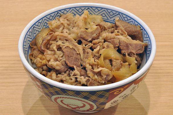 吉野家の牛丼(Ocdpさん撮影,Wikimedia Commonsより)
