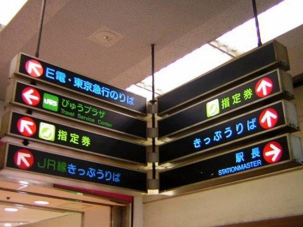 かつて蒲田駅にあった「E電」表記の案内板(Linearcityさん撮影、Wikimedia Commonsより)
