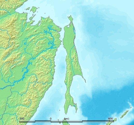 樺太(サハリン)の地図。Wikimedia Commonsより
