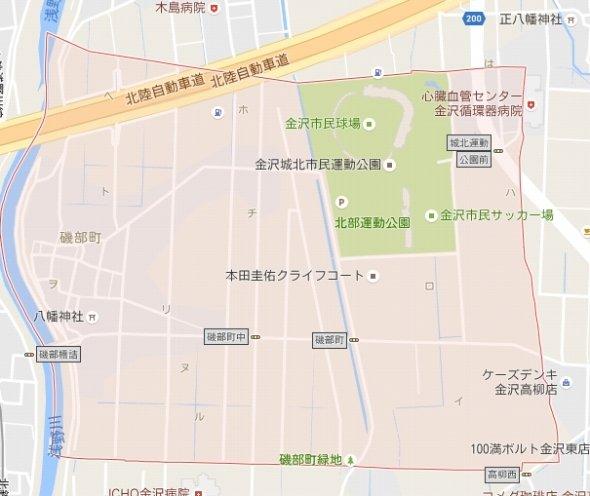 金沢市の磯部町。「イ」「ロ」「ハ」などの表記が確認できる(画像はGoogleマップより)