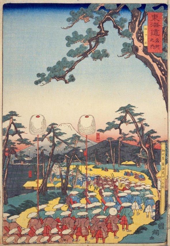 「東海道名所之内 四ツ谷」。1863年(文久3年)の浮世絵。当時の四谷の様子もうかがえる(国会図書館データベースより)