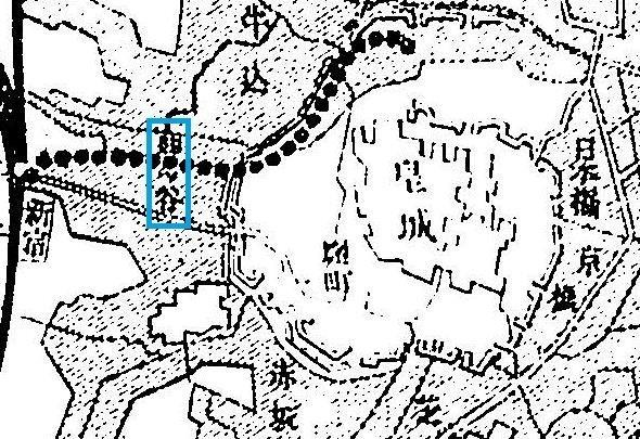 1890年(明治23年)、四ツ谷駅開業前に甲武鉄道が作成したパンフレット。見づらいが、新宿の隣に「四ツ谷」とある(国会図書館データベース)