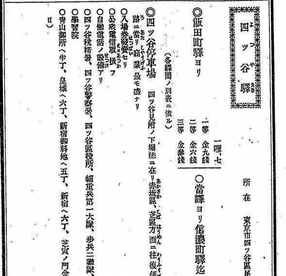 国有化の3年前、1903年(明治36年)に刊行された旅行ガイド本「中央線鉄道旅行案内」より。駅名も「四ツ谷駅」だが、地名の「四谷区」も「四ツ谷区」となっており、まだ区別があいまいだったことがうかがえる