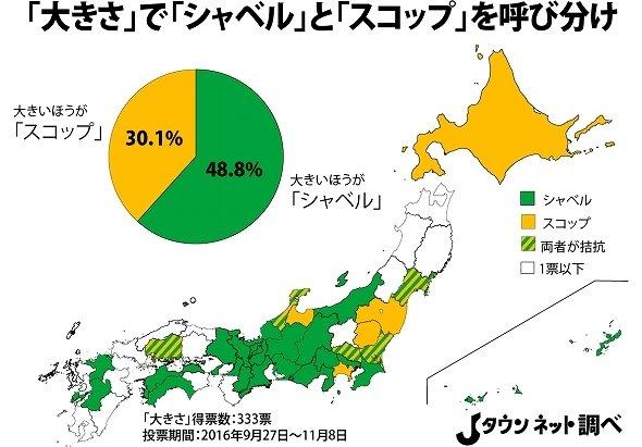 「シャベル」と「スコップ」呼び分けの都道府県別投票分布(Jタウンネット調べ)