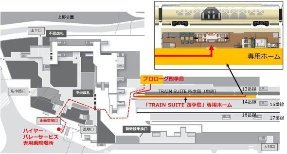 上野駅構内関係施設レイアウトのイメージ(JR東日本プレスリリースより)