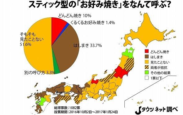 スティック型「お好み焼き」の呼称 都道府県別投票分布図(Jタウンネット調べ)