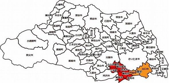 オレンジは「南部」、赤は「南西部」(埼玉県のHPを参考に彩色)