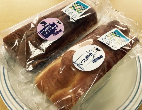 安曇野牛乳パン(右)と安曇野ブルーベリー牛乳パン(左)