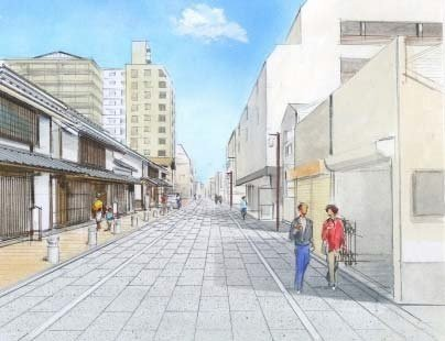石畳風の舗装で街並みを整える(画像は整備イメージ)