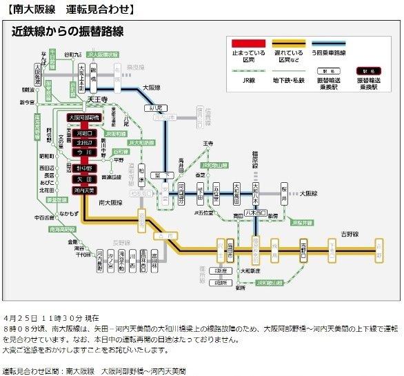 近鉄列車運行情報(近鉄公式ウェブサイトより)