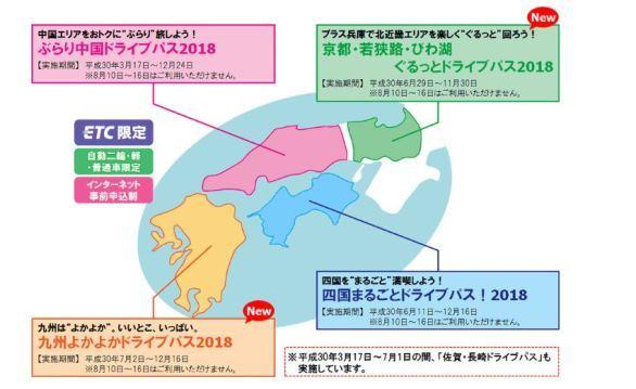 国内向けドライブパス(画像はNEXCO西日本のニュースリリースより)