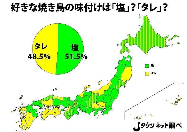 「好きな焼き鳥の味付けは『塩』?『タレ』?」調査結果(Jタウンネット調べ)*ボーダーとなっているものは「塩」「タレ」が同率となった道県。