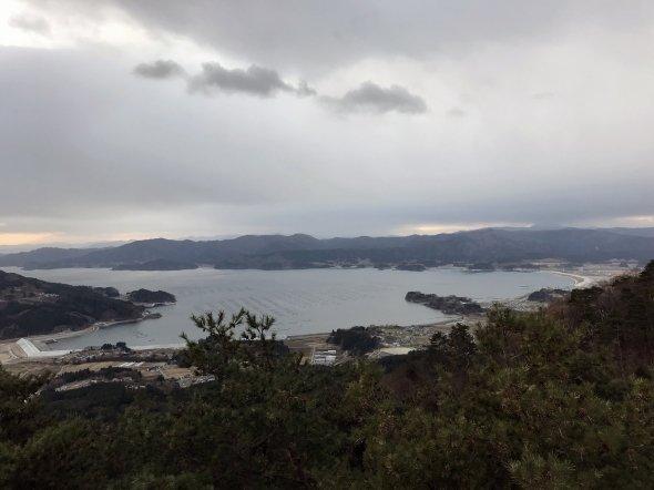 箱根山の展望台から眺める陸前高田市内。U字型の平野部が見て取れる。