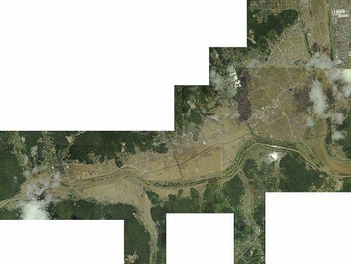 被災した岡山県真備地区(軽快さん作成、Wikimedia Commonsより)
