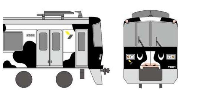 ラッピング電車「うしでんしゃ」(以下画像は東急電鉄ニュースリリースより)