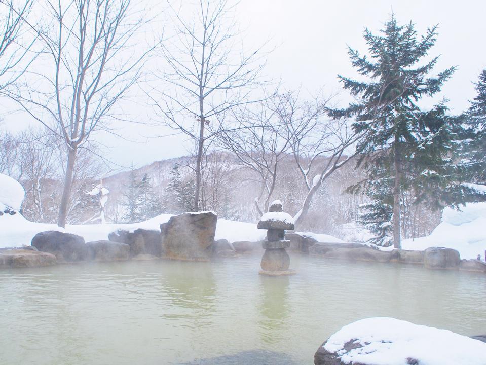 冬の北海道で入る雪見風呂
