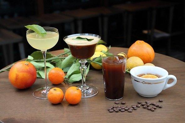 試飲会で発表されたカクテルと愛媛産柑橘類(画像提供:「HASHIWATASHI プロジェクト」事務局)