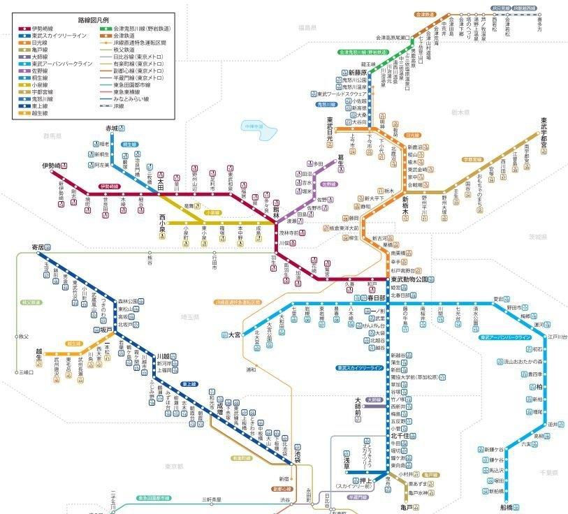 現在の東武の路線図。関東最大規模のはずだがさきほどの路線図にを見てしまうと物足りない(公式サイトより引用)