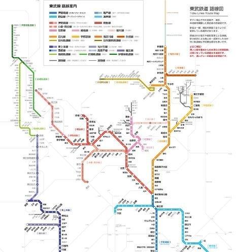 北関東エリアが網の目のように充実している。緑系のカラーの線が群馬の路面電車