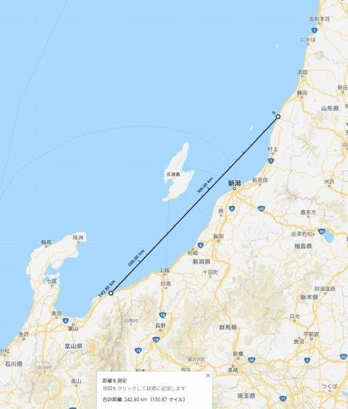 村上市の県境と糸魚川市の県境を結んだ1新潟 (C)Google