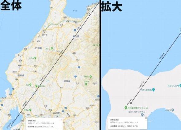 糸魚川市の県境から関西方面に1新潟 (C)Google