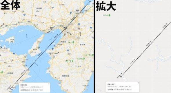 沖島から四国に向けて1新潟 (C)Google