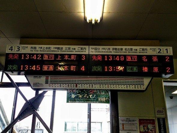 近鉄高安駅の2015年現在の発車標(Rebirth10さん撮影、Wikimedia Commonsより)