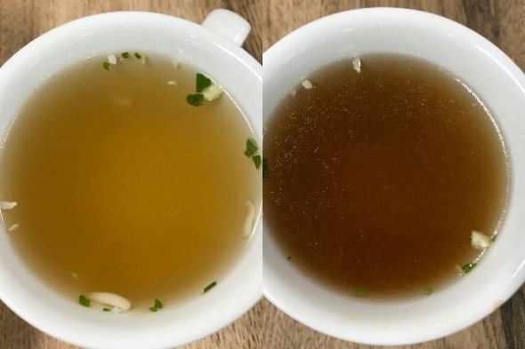 左が元の中華スープ、右がつけ麺にトライした後の中華スープ