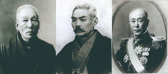 向かって左から、小野義眞、岩崎彌之助、井上勝(画像は小岩井乳業提供)