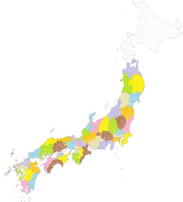 全国のマップ。国土地理院タイルの白地図をもとに、「代官@旅ブログ『47の記憶』」さんが加工・作成した(「代官@旅ブログ『47の記憶』」さんのツイートより)