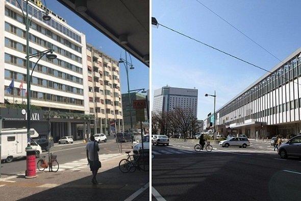 ベネチア・メストレ駅前(左)と岡山駅前(右)