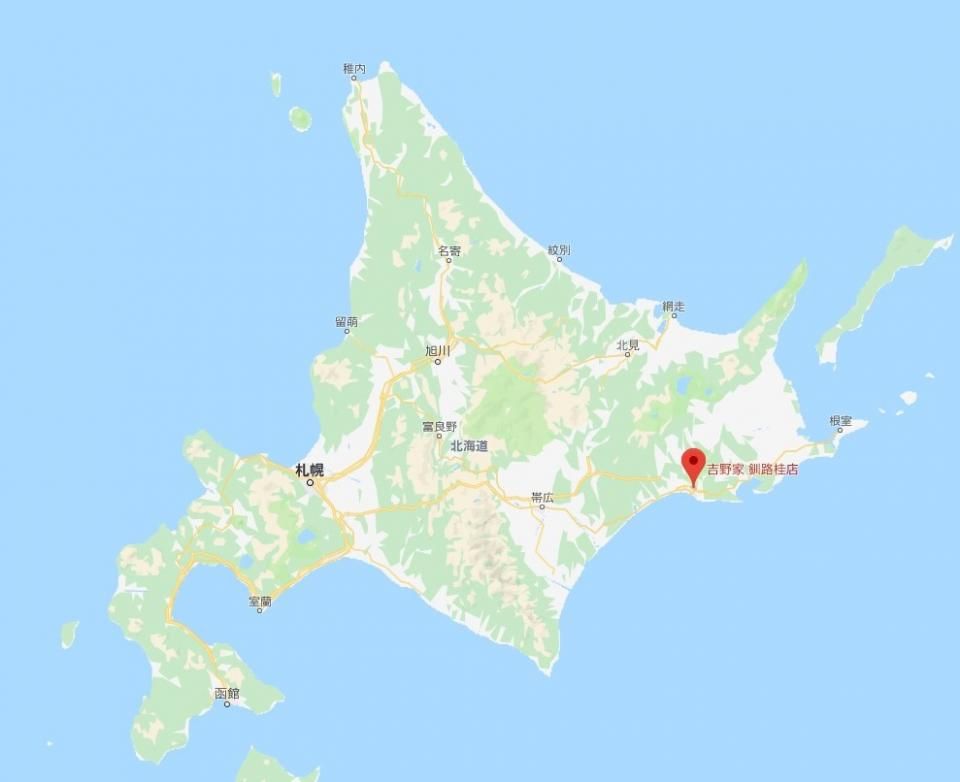 Googleマップで確認した釧路桂店の位置 (C)Google