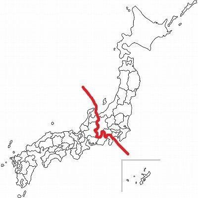NTT東西のエリアによる境目(Jタウンネット編集部が加工・作成)