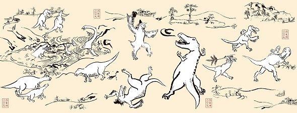 恐竜戯画手ぬぐい(画像提供:「恐竜博2019」事務局)